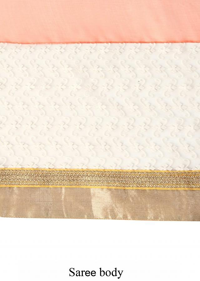 Shaded saree in coral and yellow with thread embroidered border only on Kalki
