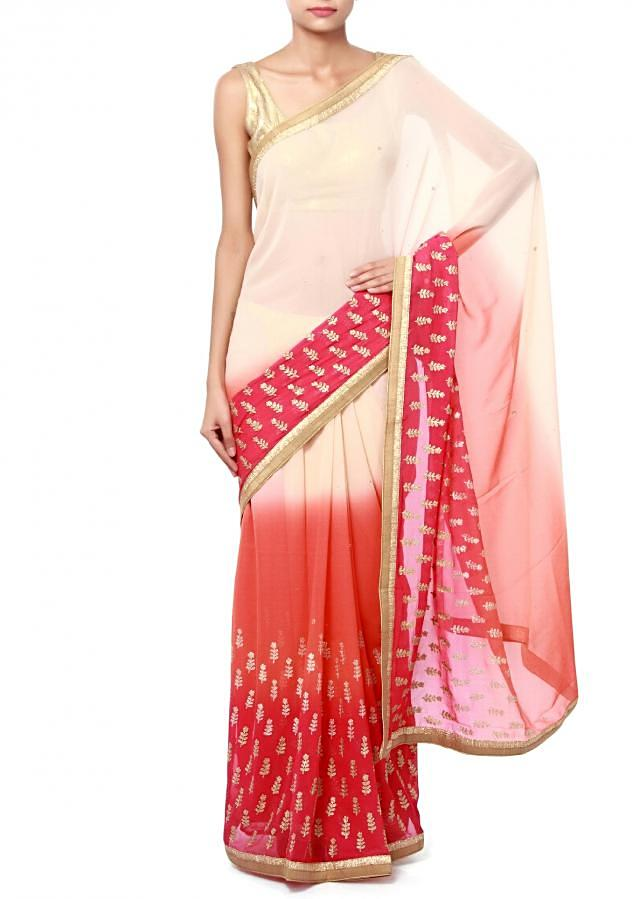 Shaded saree in cream and peach with thread embroidered butti only on Kalki