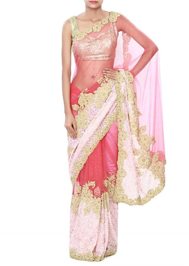 Shaded saree in dark and baby pink in resham embroidery only on Kalki