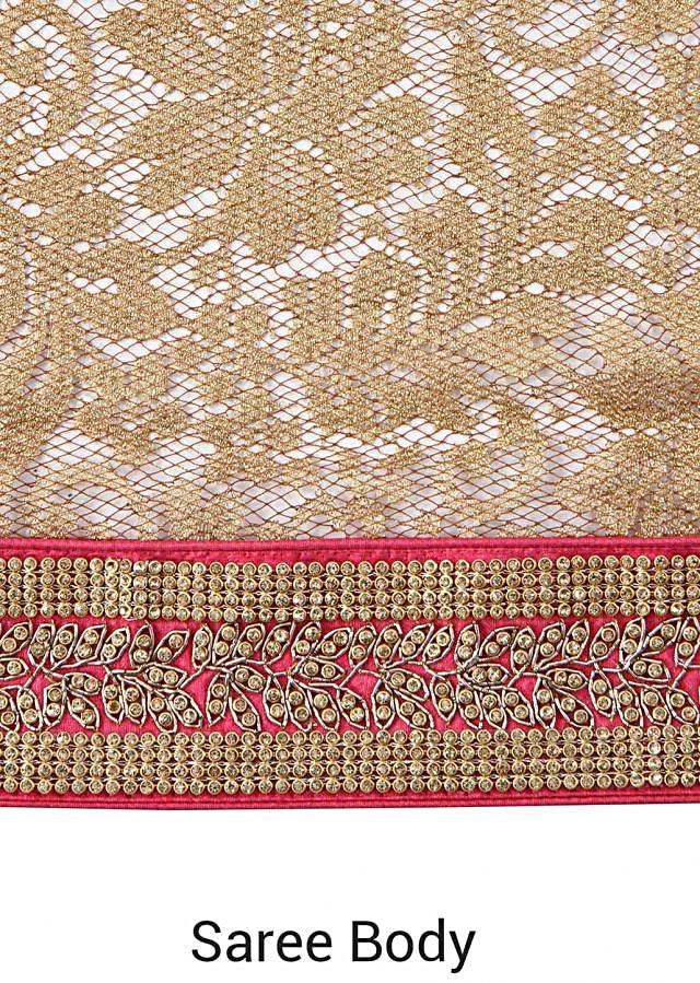 Shaded saree in gold adorn in kundan embroidered border only on Kalki