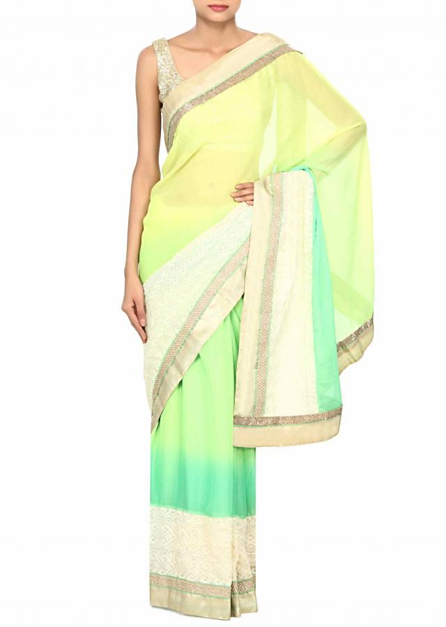 Light yellow green saree with thread embroidered border only on Kalki