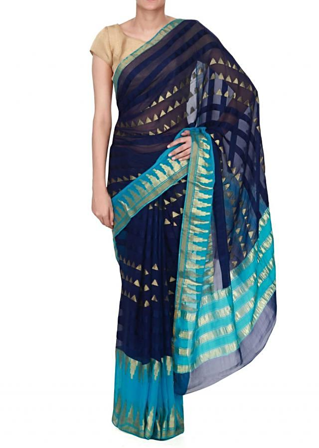 Shaded saree in in navy blue and turq with temple border only on Kalki