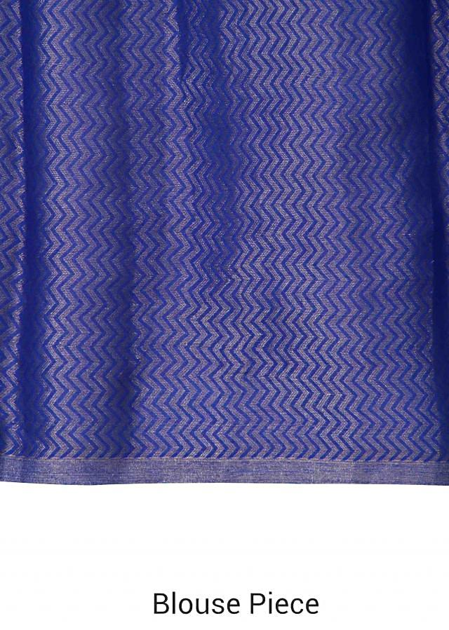 Shaded saree in in royal blue and turq with temple border only on Kalki