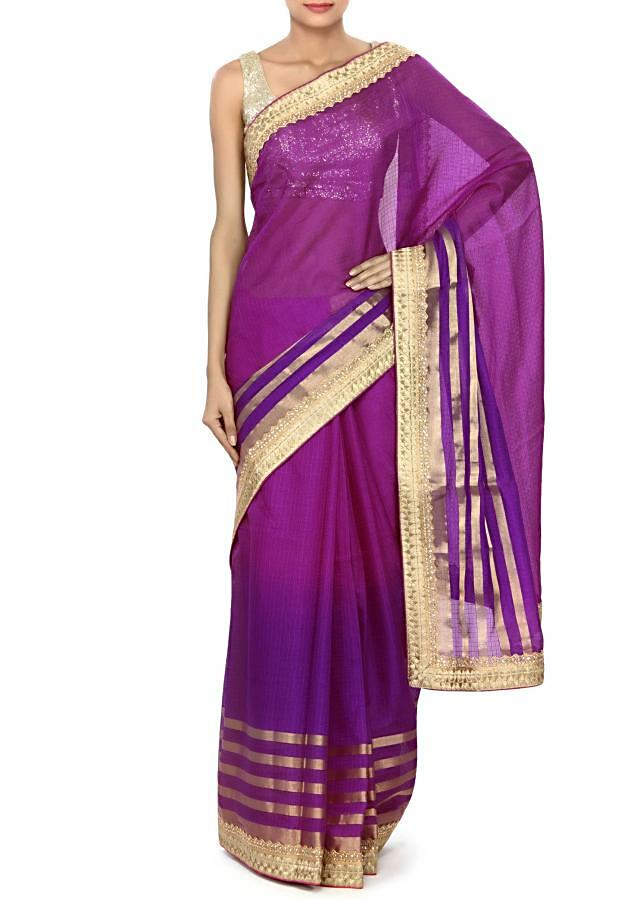 Shaded saree in magenta and purple with kundan border only on Kalki