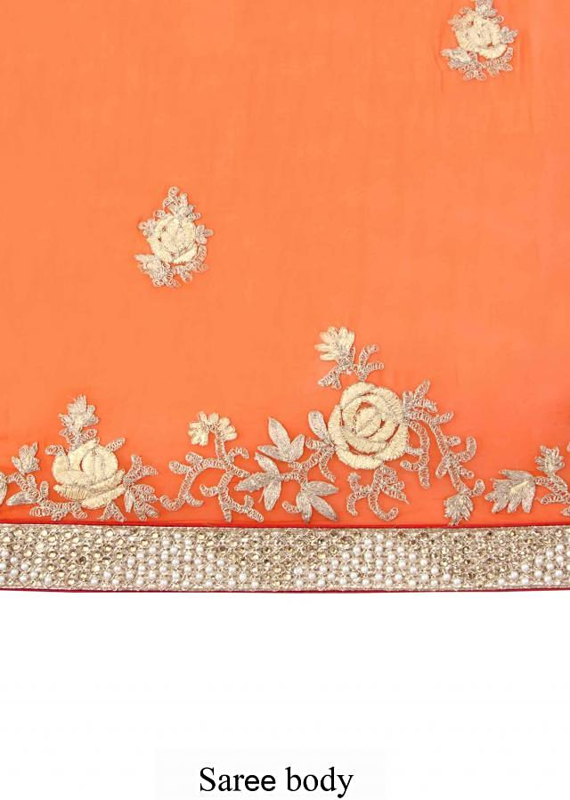 Shaded saree in orange and coral embellished in gotta patti and pearl embroidery only on Kalki
