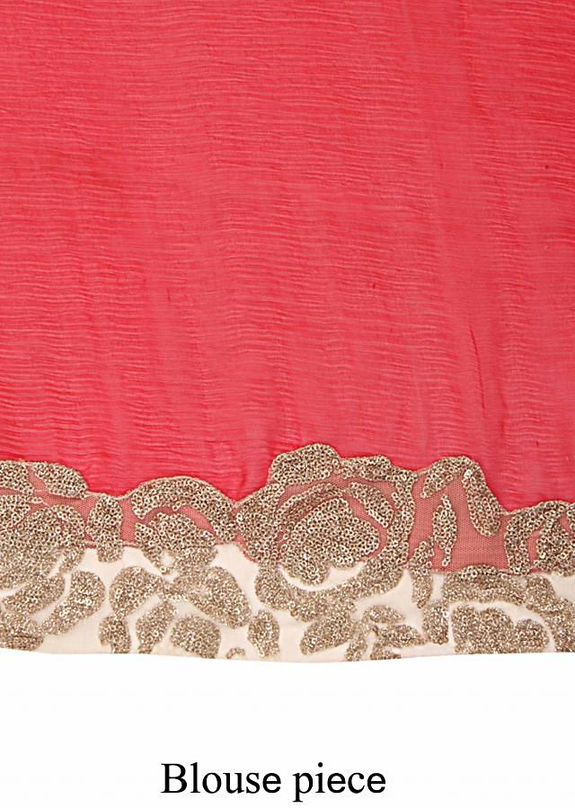 Shaded saree in peach and red with sequin embroidery only on Kalki