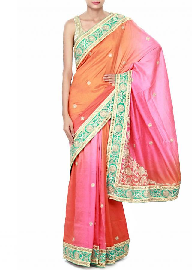 Shaded saree in pink and orange enhanced in zari border only on Kalki