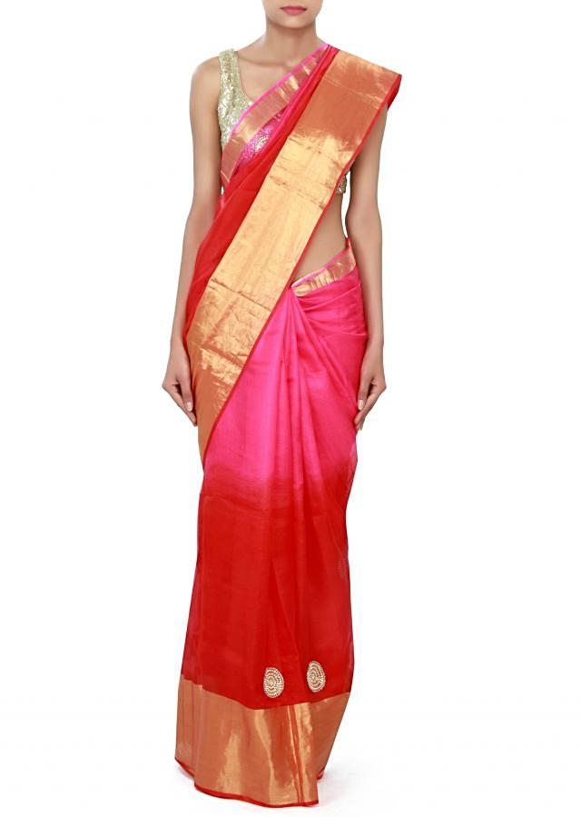 Shaded saree in pink and red adorn in embroidered butti only on Kalki