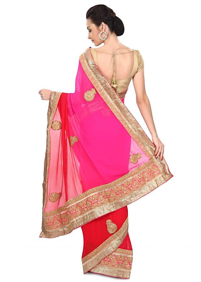 Shaded saree in pink and red with kundan and zari embroidery only on Kalki