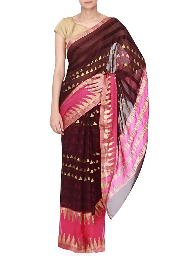 Shaded saree in pink and wine with temple border only on Kalki