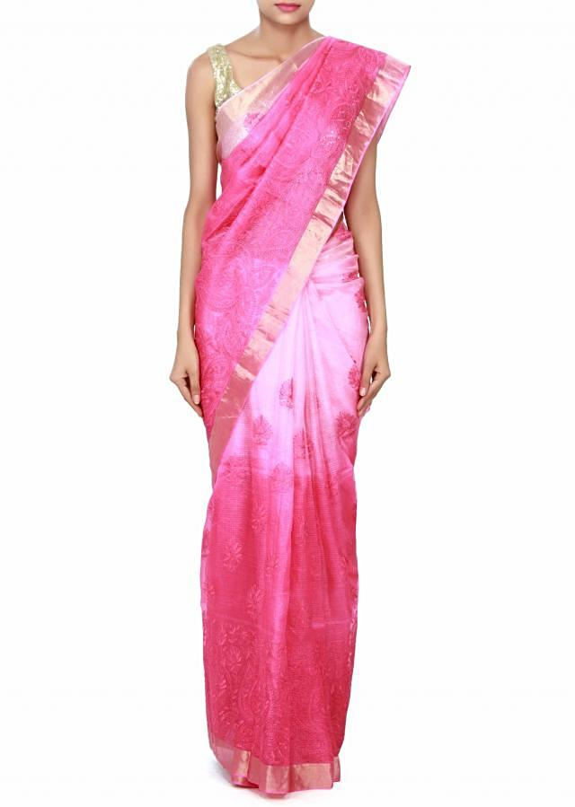 Shaded saree in pink chanderi silk only on Kalki