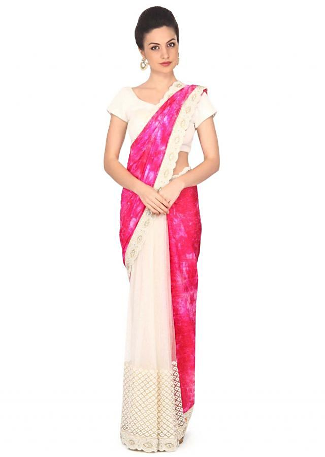 Shaded saree in pink crush with embellished border only on Kalki