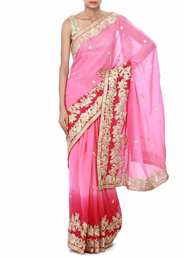 Shaded saree in pink enhanced in zari embroidery only on Kalki