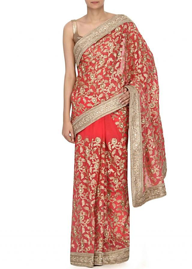 Shaded saree in rani pink and peach in zari and sequin work only on Kalki