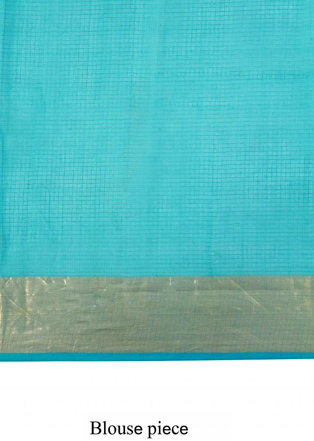 Shaded saree in sea blue and sea green with gotta patti embroidery only on Kalki