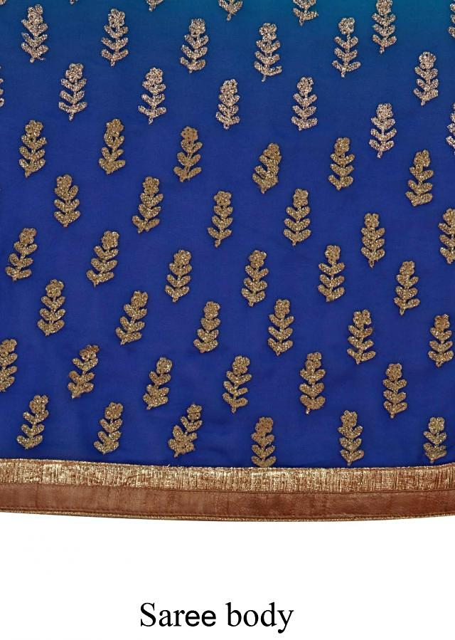 Shaded saree in turq and royal blue with thread embroidered butti only on Kalki