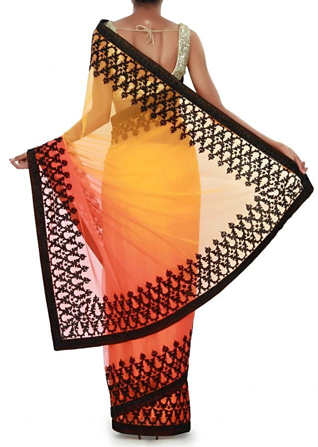 Shaded saree in yellow and orange with thread embroidery only on Kalki