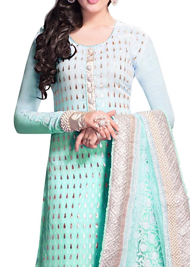 Shaded Semi stitched suit with delicate machine embroidery and heavy dupatta with pearl work border