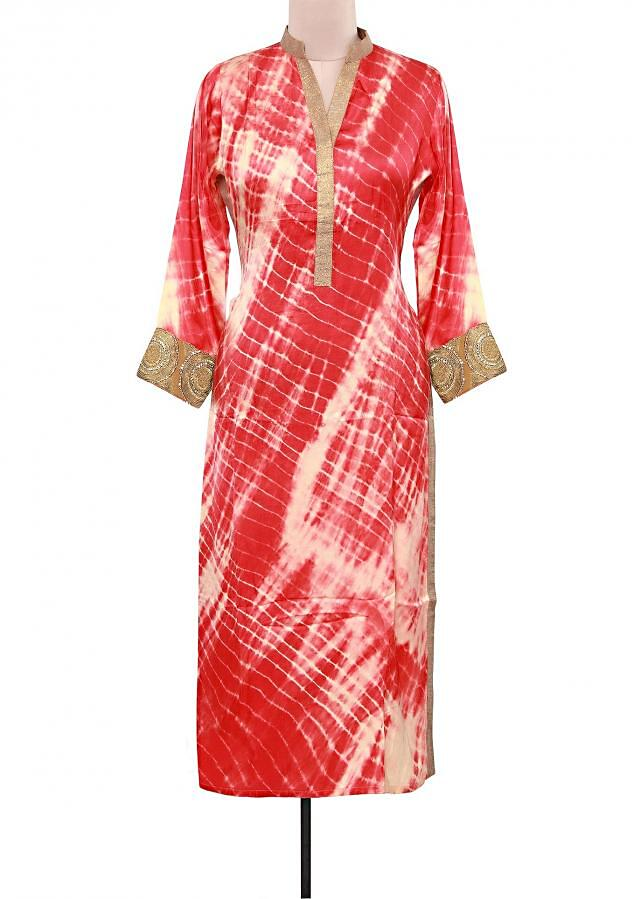 Shaded tie and dye kurti adorn in mirror placket only on Kalki