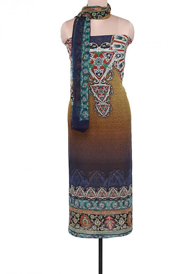 Shaded unstitched suit adorn in digital print only on Kalki