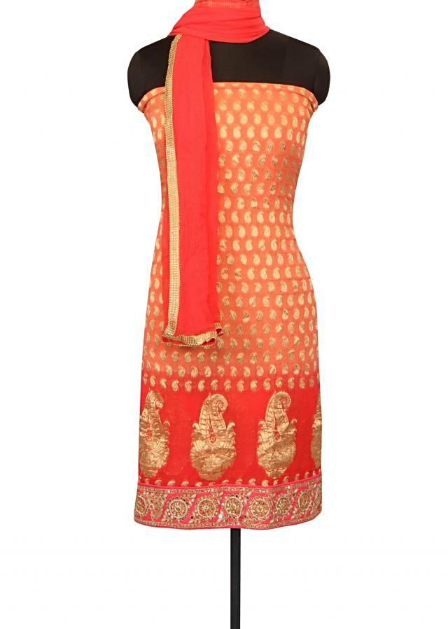 Shaded unstitched suit in gota patch and kundan only on Kalki