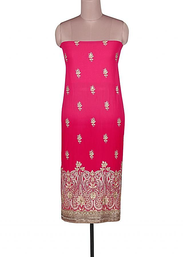 Shaded unstitched suit in pink adorn in resham and kundan embroidery only on Kalki