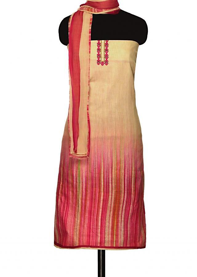 Shaded unstitched suit in pink and cream with printed dupatta only on Kalki