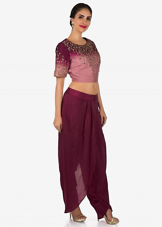 Shaded crop top in sequin embroidery matched with dhoti pants only on Kalki