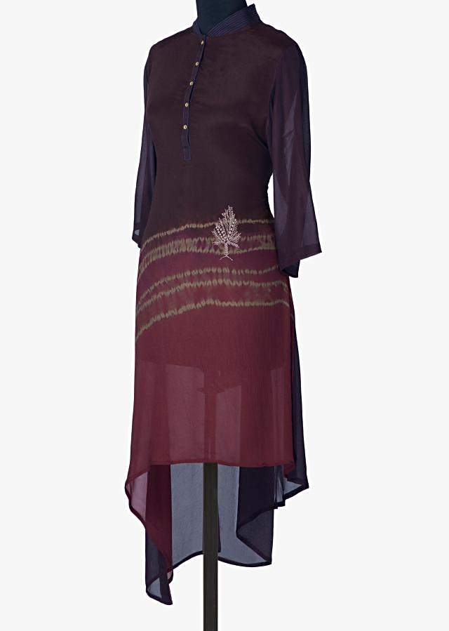 Shaded kurti in crepe with asymmetric hem line only on Kalki