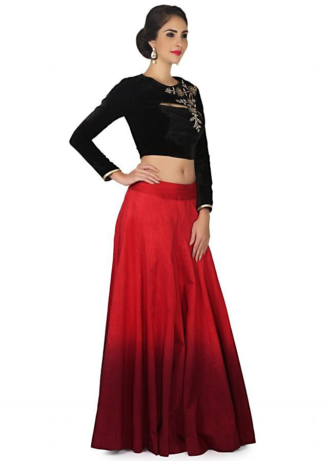 Shaded lehenga in raw silk with velvet embroidered blouse only on Kalki