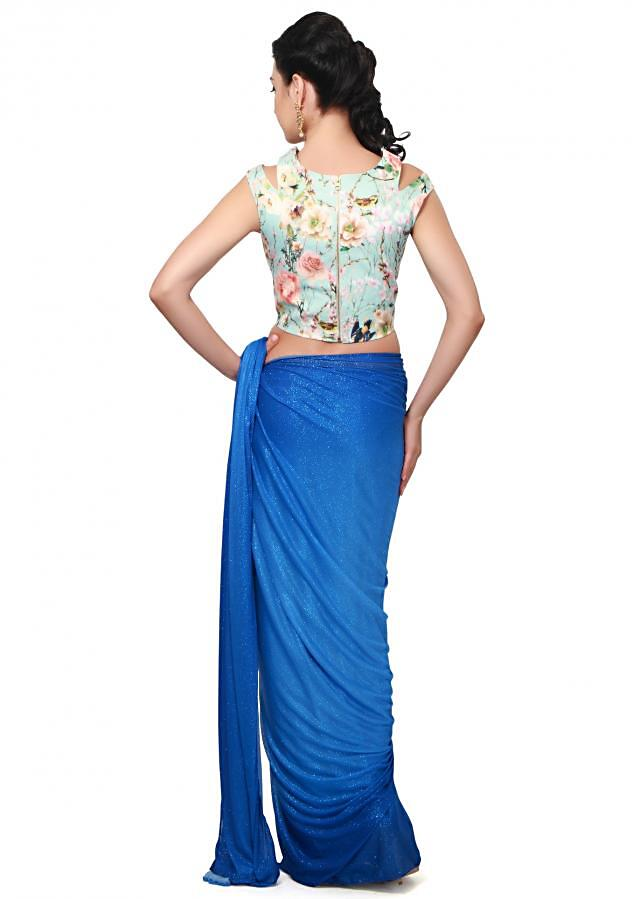 Shaded saree in blue matched with floral printed blouse only on Kalki