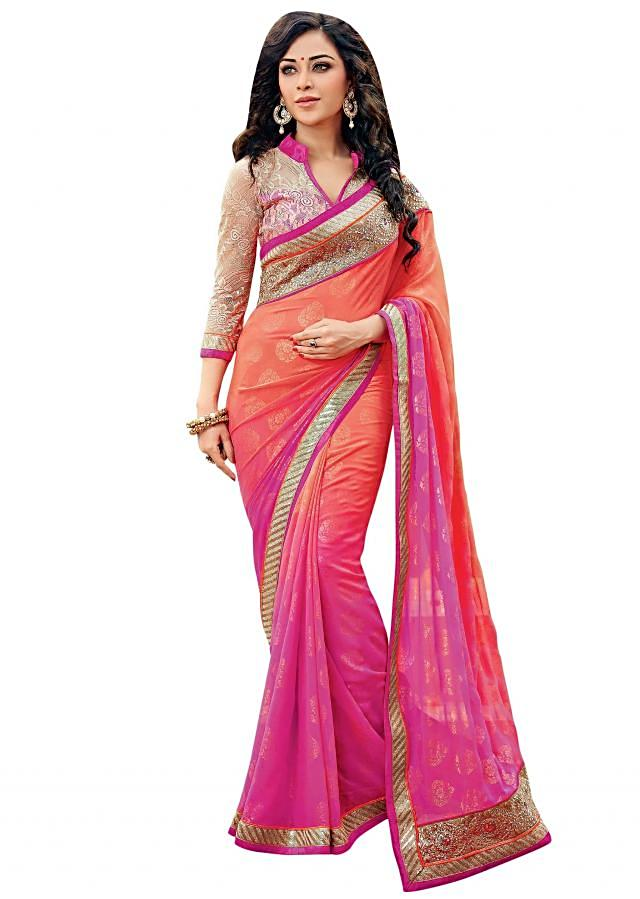 Shaded saree in pink and orange with embroidered border