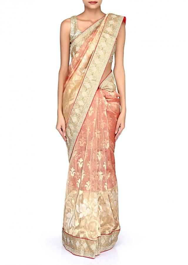 Shaded saree in gold and red chanderi silk adorn in embroidered border only on Kalki