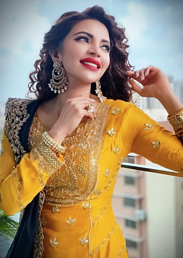 Shama Sikander in Kalki Mustard Chanderi silk sharara suit set