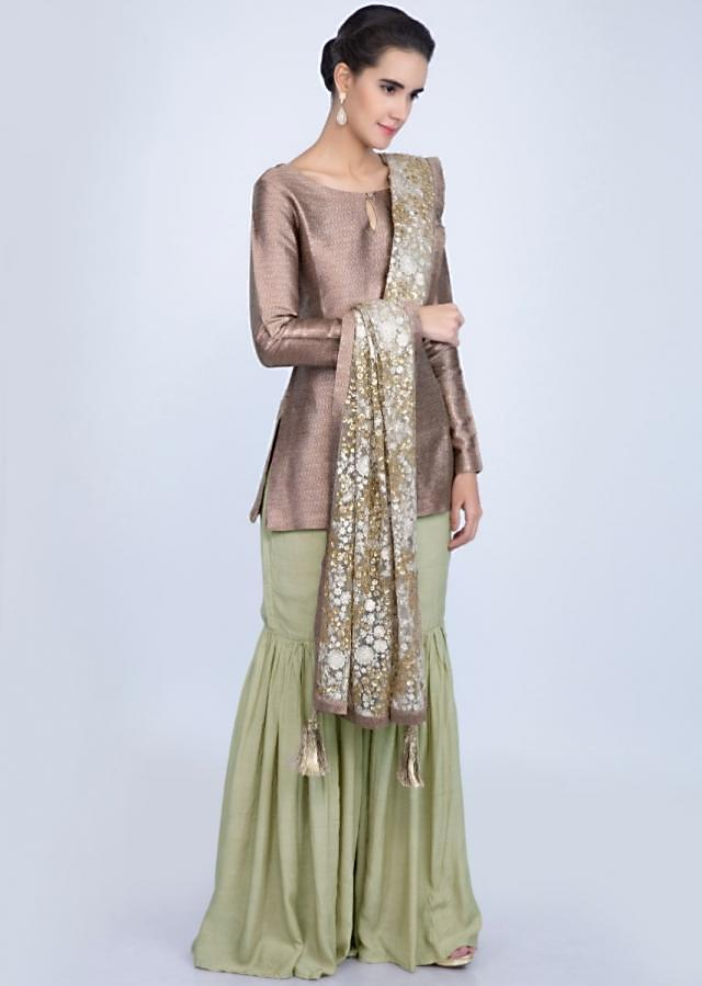 Copper Sharara Suit With Brocade Top And Heavy Embroidered Net Dupatta Online - Kalki Fashion