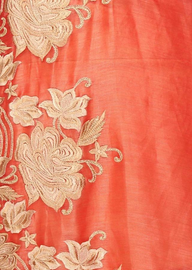 Sharon peach unstitched suitwith beige dupattaonly on Kalki