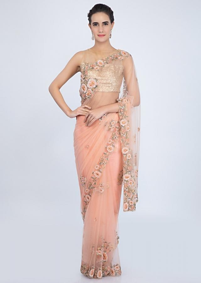 Peach Saree In Net With Floral Embroidered Buttis And Border Online - Kalki Fashion