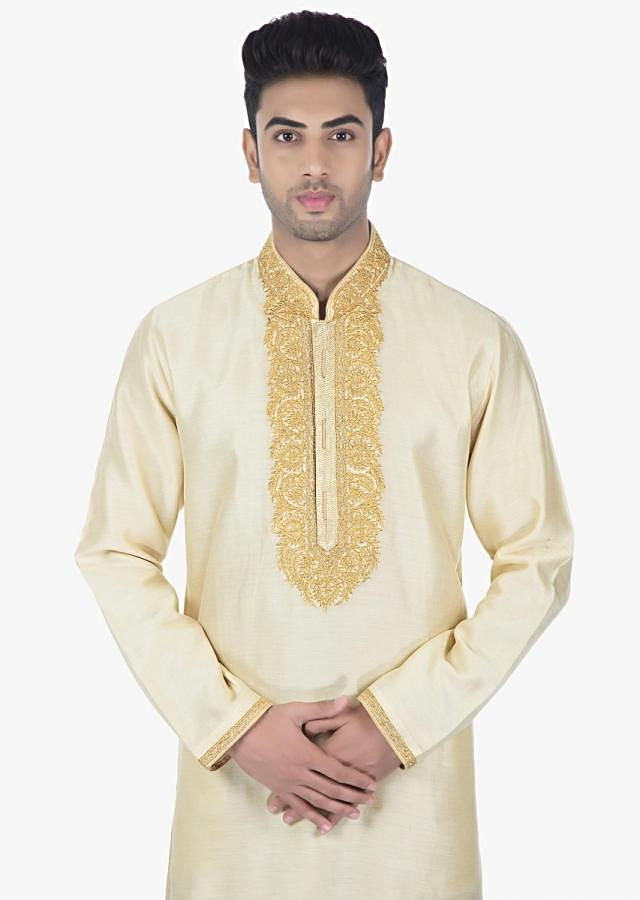 Shell cream silk Kurta and Sandal Brown PS silk chudidar set only on kalki