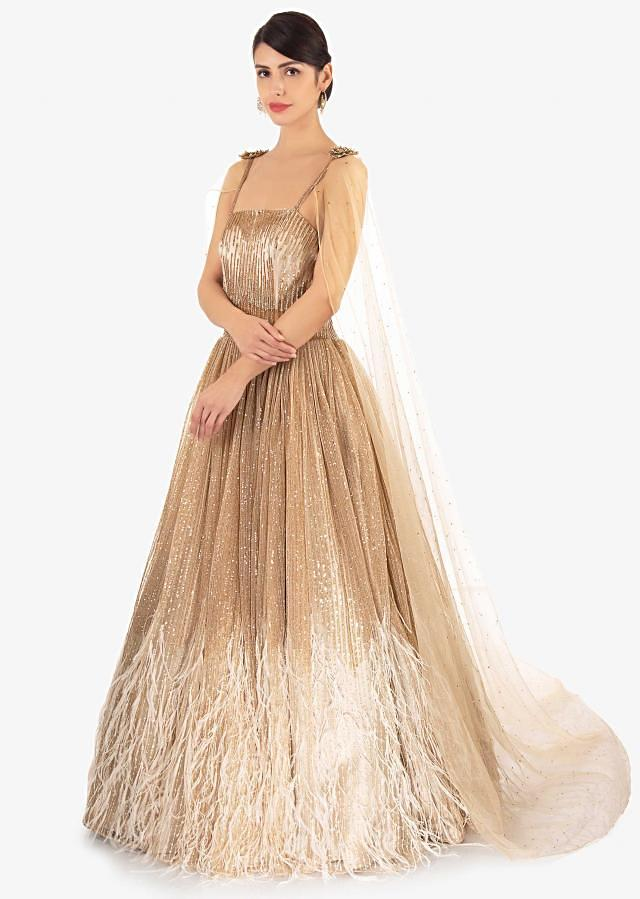 Shimmer sequins  gown in 3 D flowers, feathers and  fancy cape only on Kalki