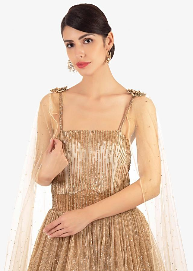Gold Gown With Shimmer Sequins In 3 D Flowers, Feathers And Fancy Cape Online - Kalki Fashion