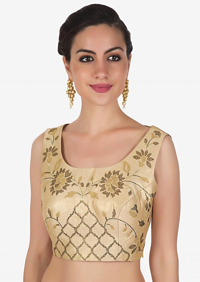 Shimmer blouse in light gold adorn in kundan embroidery only on Kalki