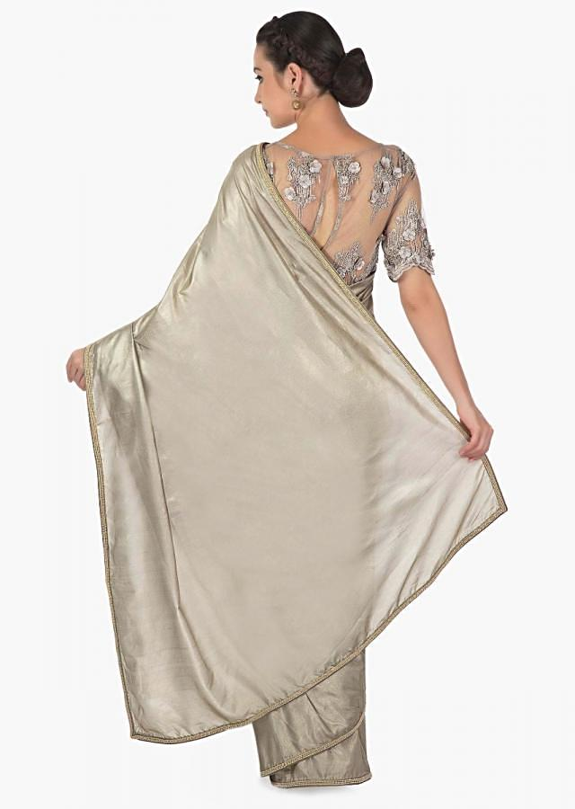 Shimmer grey saree in silk with ready 3D embroidered blouse only on Kalki