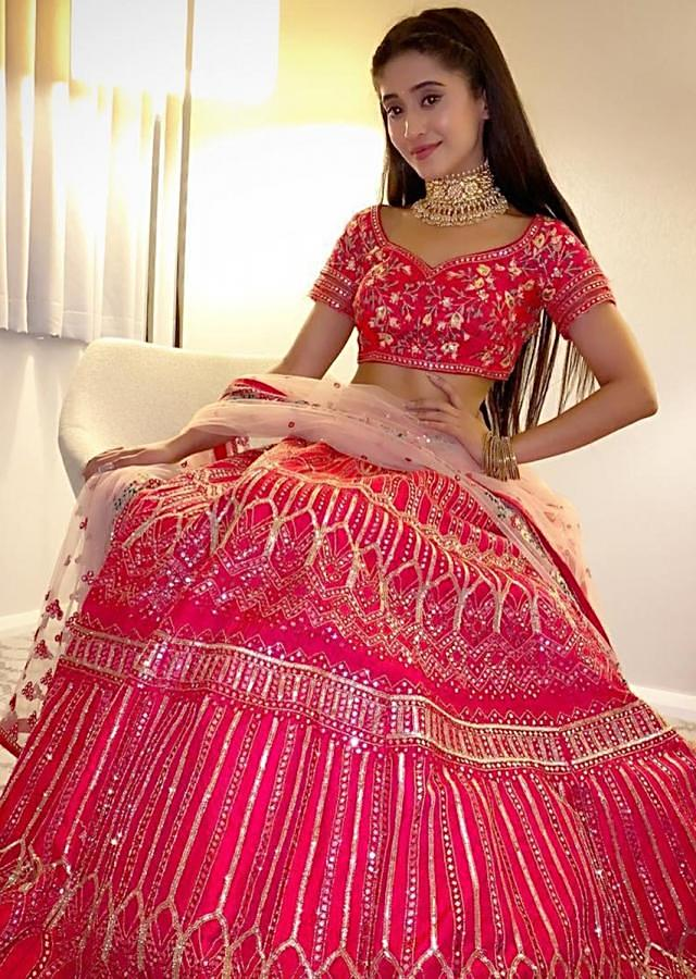 Shivangi Joshi  in Kalki rani pink mirror embroidered lehenga set.