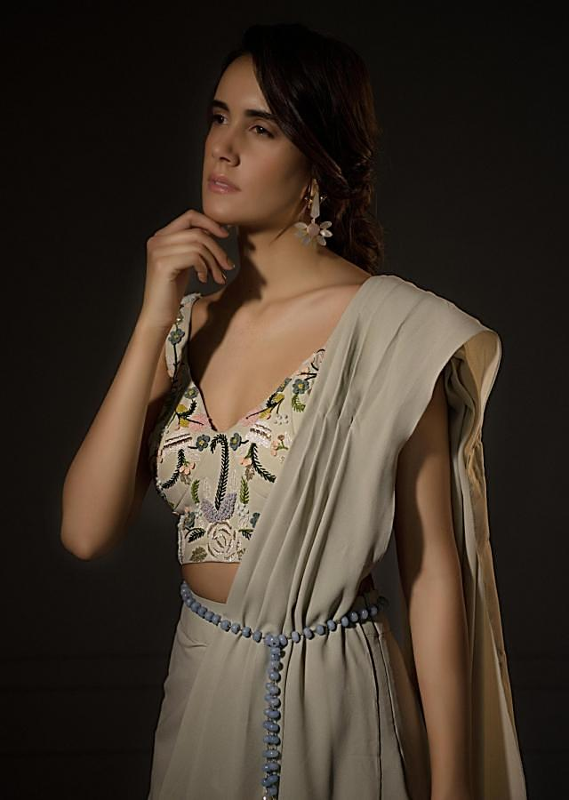 Powder Blue Georgette Drape Suit with Net Jacket and French Knot Work Only on Kalki
