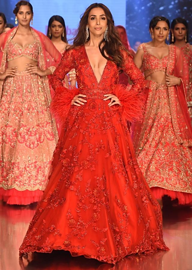 4472f3bc5bdb Showstopper Malaika Arora in Kalki's Ruby Red Embroidered Net Gown ...