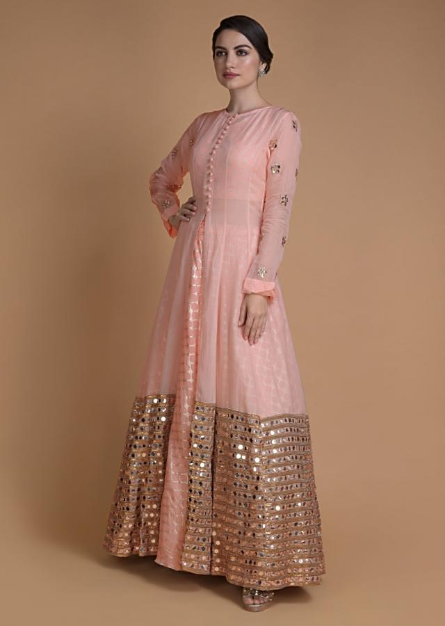 Shrimp Peach Jacket Lehenga With Mirror Abla Work And Weaved Moroccan Pattern Online - Kalki Fashion