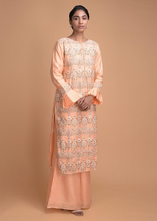 Shrimp Peach Palazzo Suit With Thread And Zari Embroidered Floral Pattern Online - Kalki Fashion