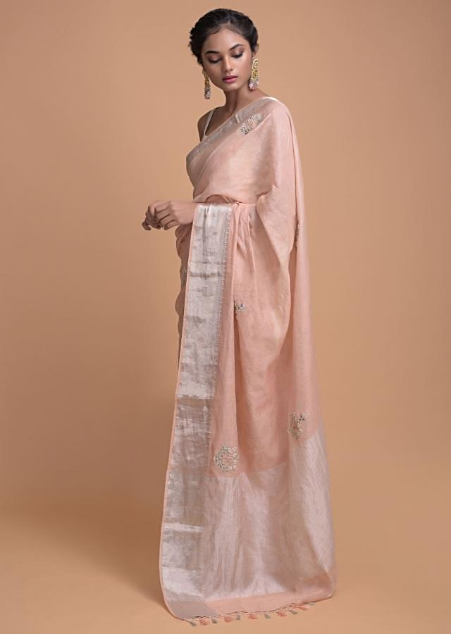 Shrimp Peach Saree In Tissue Silk With Weaved Border And Embroidered Buttis Online - Kalki Fashion