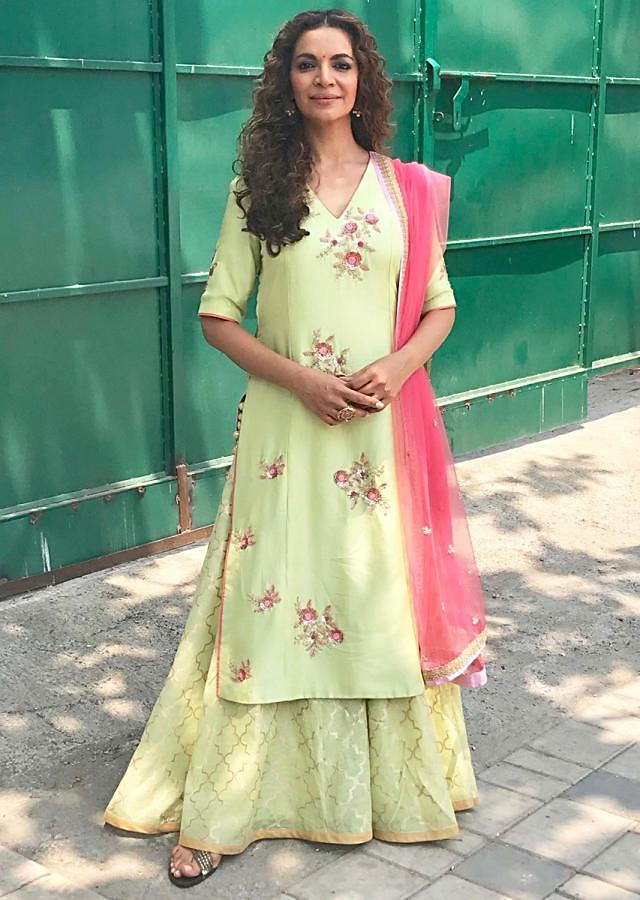 Shweta Kawatra in Kalki pista green palazzo suit with embroidered butti