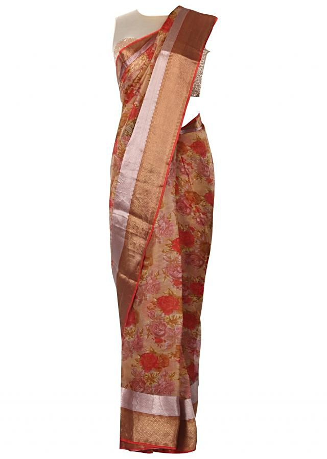 Silk saree in cream with floral print and contrast border only on Kalki